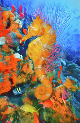 Photograph - Seahorse At A Magical Reef Watercolor Painting by Debra and Dave Vanderlaan