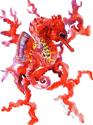 Painting - Seahorse, Coral Red, Scarlet Seahorse Design by Suren Nersisyan