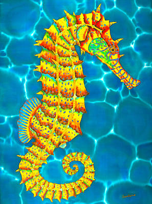 Silk Painting - Seahorse - Exotic Art by Daniel Jean-Baptiste