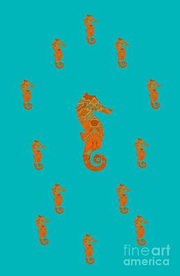 Mixed Media - Seahorse Famiy Aqua And Orange by Rachel Hannah