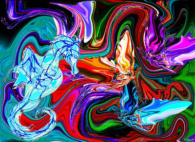 Butterfly Painting - Seahorse In The Butterflies Kingdom by Abstract Angel Artist Stephen K