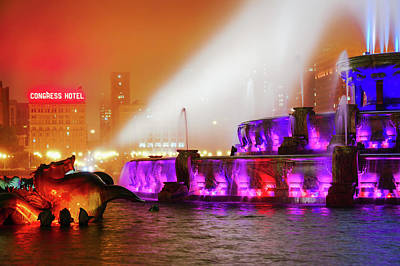 Happy Photograph - Seahorse In The Fog - Buckingham Fountain - Chicago by Scott Campbell