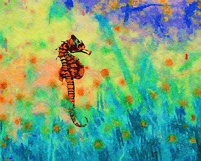 Photograph - Seahorse In The Ocean Watercolor India Ink by Sandi OReilly