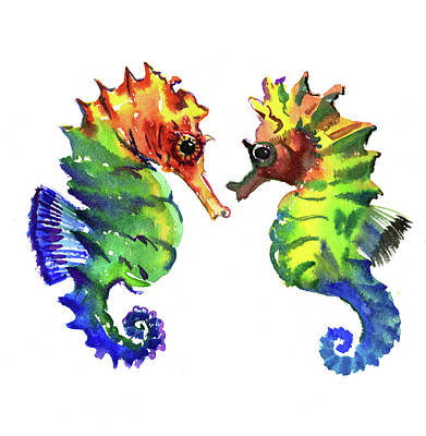 Painting - Seahorse Love by Suren Nersisyan