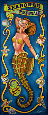 Juxtapose Painting - Seahorse Mermaid by Molly McGuire