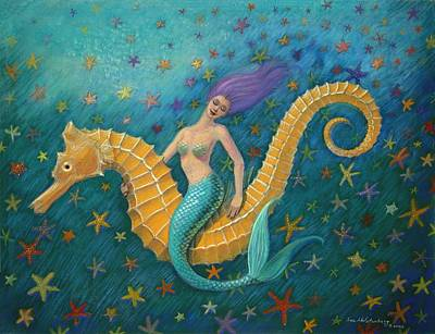 Painting - Seahorse Mermaid by Sue Halstenberg