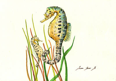 Seahorse Painting - Seahorse Mom And Baby by Juan Bosco