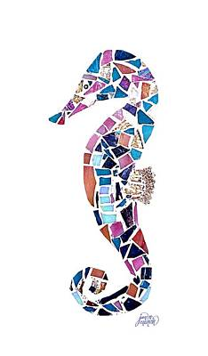 Glass Art - Seahorse Mosaic Cut Out by Jan Marvin