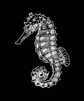 Simplicity Drawing - Seahorse On Black by Masha Batkova