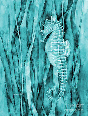 Rainy Day - Seahorse on Blue by Hailey E Herrera