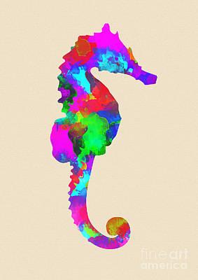 Vertical Digital Art - Seahorse by Prar Kulasekara