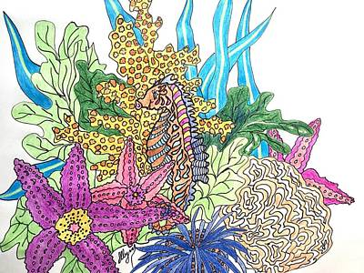 Fanciful Drawing - Seahorse Sanctuary  by Ellen Levinson