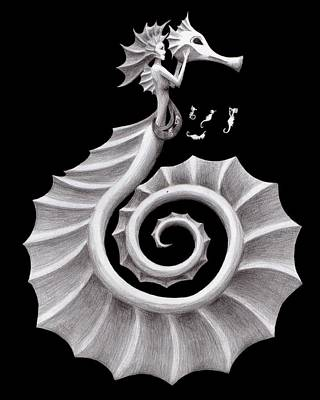 Black And White Drawing - Seahorse Siren by Sarah Krafft