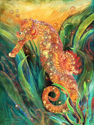 Fish Mixed Media - Seahorse - Spirit Of Contentment by Carol Cavalaris