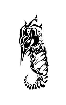 Rorschach Drawing - Seahorse by Thomas Coleman