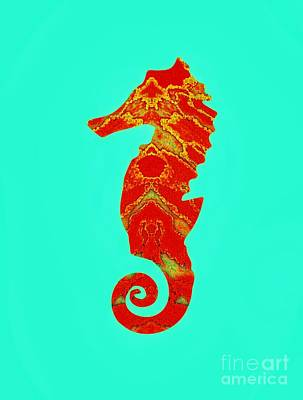 Mixed Media - Seahorse Turquoise And Orange Left Facing by Rachel Hannah