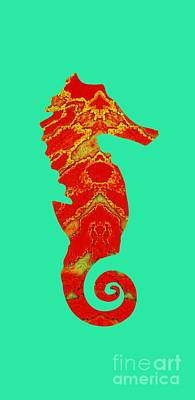 Mixed Media - Seahorse Turquoise And Orange Right Facing by Rachel Hannah