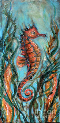 Painting - Seahorse With Kelp by Linda Olsen