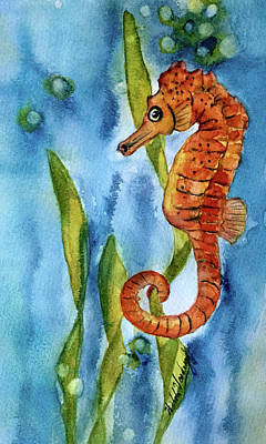 Painting - Seahorse With Sea Grass by Hilda Vandergriff