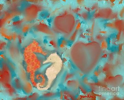 Painting - Seahorses #2 by Jeanie Watson