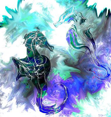 Ocean Digital Art - Seahorses At Play by Abstract Angel Artist Stephen K