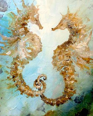 Painting - Seahorses In Love 2016 by Dina Dargo