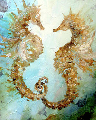 Painting - Seahorses In Love 2017 by Dina Dargo