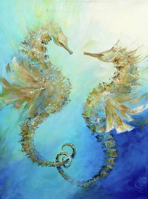 Painting - Seahorses In Love 2018 by Dina Dargo