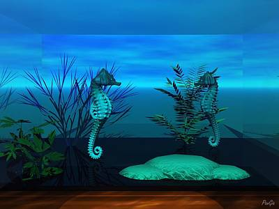 Digital Art - Seahorses by John Pangia