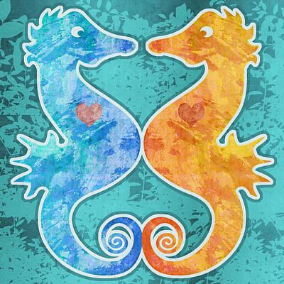 Digital Art - Seahorses by Mary Ogle
