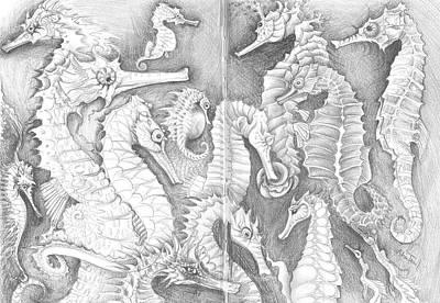 Drawing - Seahorses Sketchbook by Adria Trail