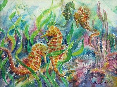 Seahorses Three Art Print by Deborah Younglao