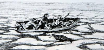 Inuit Drawing - Seal Hunters by Rhonda Shelford Jansen  - RSJ