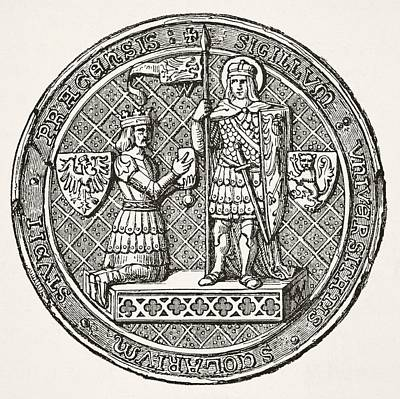 Prague Drawing - Seal Of The University Of Prague From by Vintage Design Pics