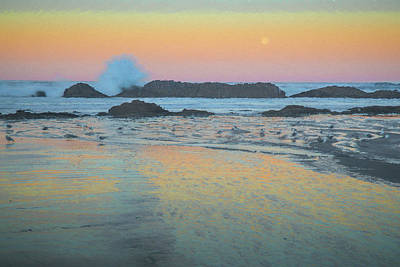 Photograph - Seal Rock Moonset by Michael Balen