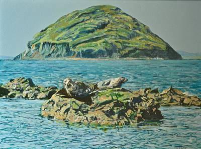 Milestone Painting - Seals Sunbathing On The Rocks At Lendalfoot 2 by Ian Mackenzie