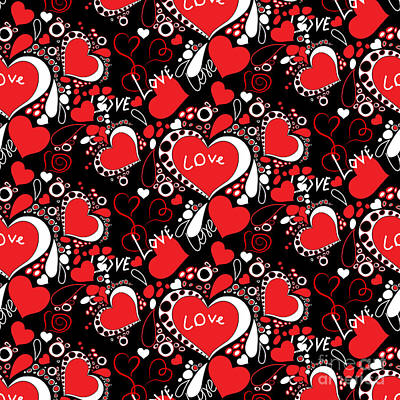 Seamless Abstract Pattern With Hearts And Love Inscriptions On A Black Background Original by Alla Volkova