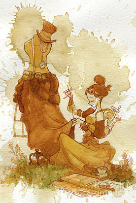 Steampunk Painting - Seamstress by Brian Kesinger