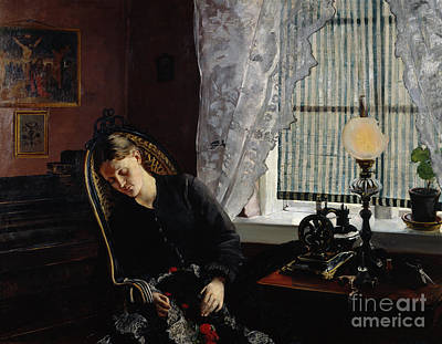 Sewing Machine Painting - Seamstress by Christian Krohg