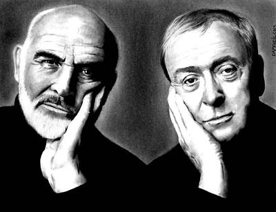 Drawing - Sean Connery And Michael Caine by Rick Fortson