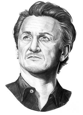 Famous People Drawing - Sean Penn by Murphy Elliott