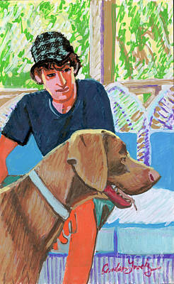 Painting - Sean With His Dog by Candace Lovely