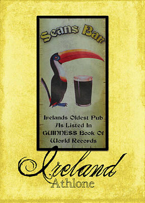 Beer Royalty-Free and Rights-Managed Images - Seans Bar Guinness Pub Sign Athlone Ireland by Teresa Mucha