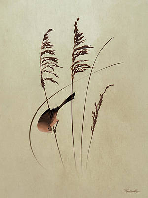 Digital Art - Seaoats And Bird by IM Spadecaller