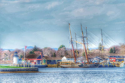 New England Lighthouse Digital Art - Seaport Serenity  by Linda Ouellette