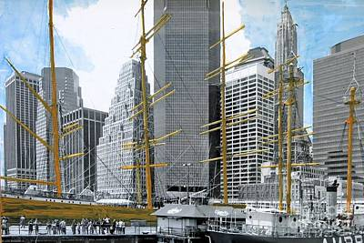 Port Town Mixed Media - Seaport South by Nica Art Studio