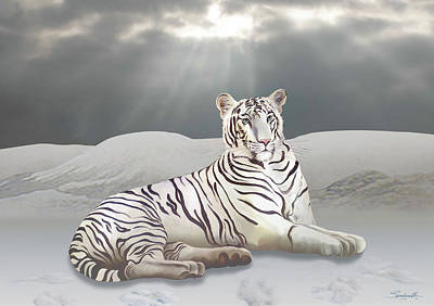 Digital Art - Search For The White Tiger by IM Spadecaller