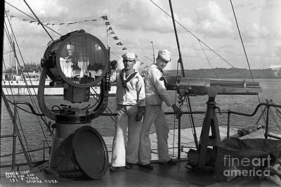 Photograph - Search Light, And Rapid Fire Gun, On The Battleship ,uss Texas, Havana Cuba, 1898 by California Views Mr Pat Hathaway Archives
