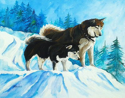 Searching Huskies Art Print by Marla Hoover