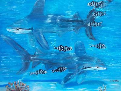 Painting - Searching Sharks by Aleta Parks